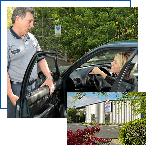 auto shop owner talking to customer, picture of aersi auto from outside