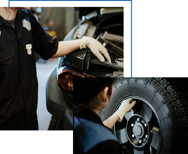 images of female mechanics working on car and tire